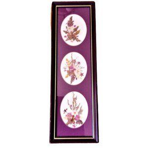 Vintage Framed Handmade floral Paper Collage art